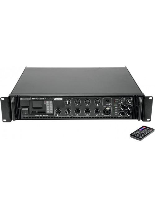 AMPLI MPVZ-120 OMNITRONIC 6Z, 120W 70V,100V 4-16ohm MP3,SD,USB,CHIME